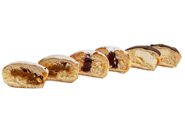Пончики с вареной сгущенкой, клубничным джемом и заварным кремом
